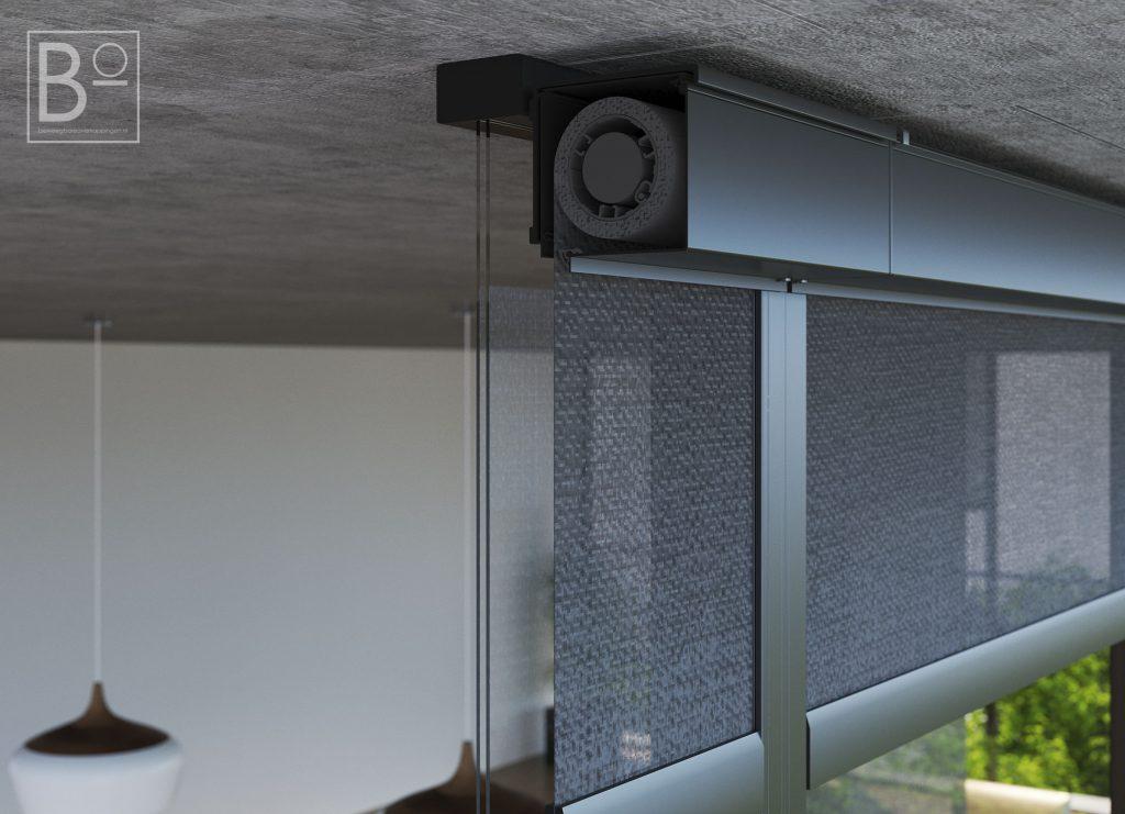 Binenkant van een kast waar screens worden opgerold