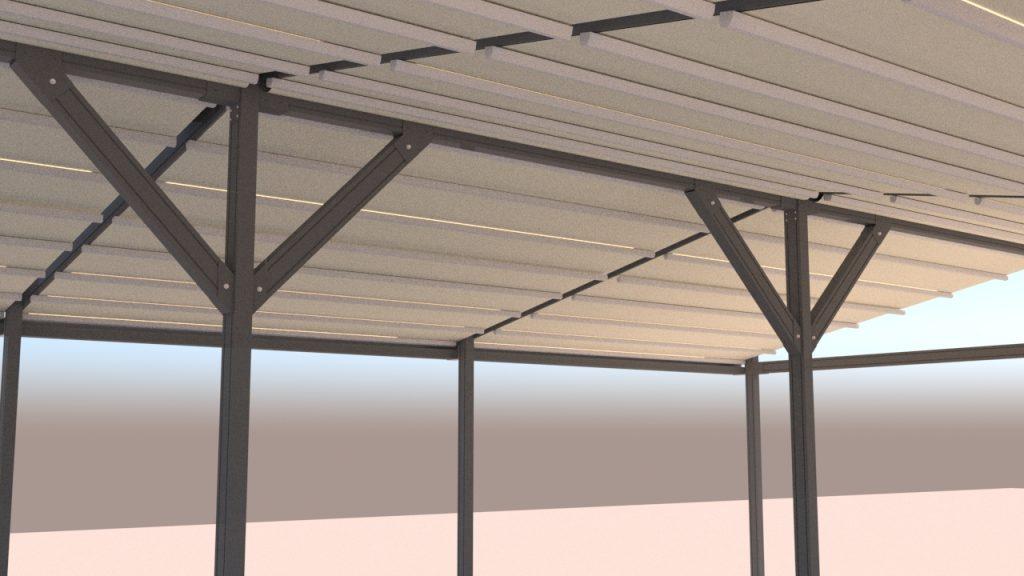 het gebruik van een aluminium constructie is zeer solide en onderhoudsvrij