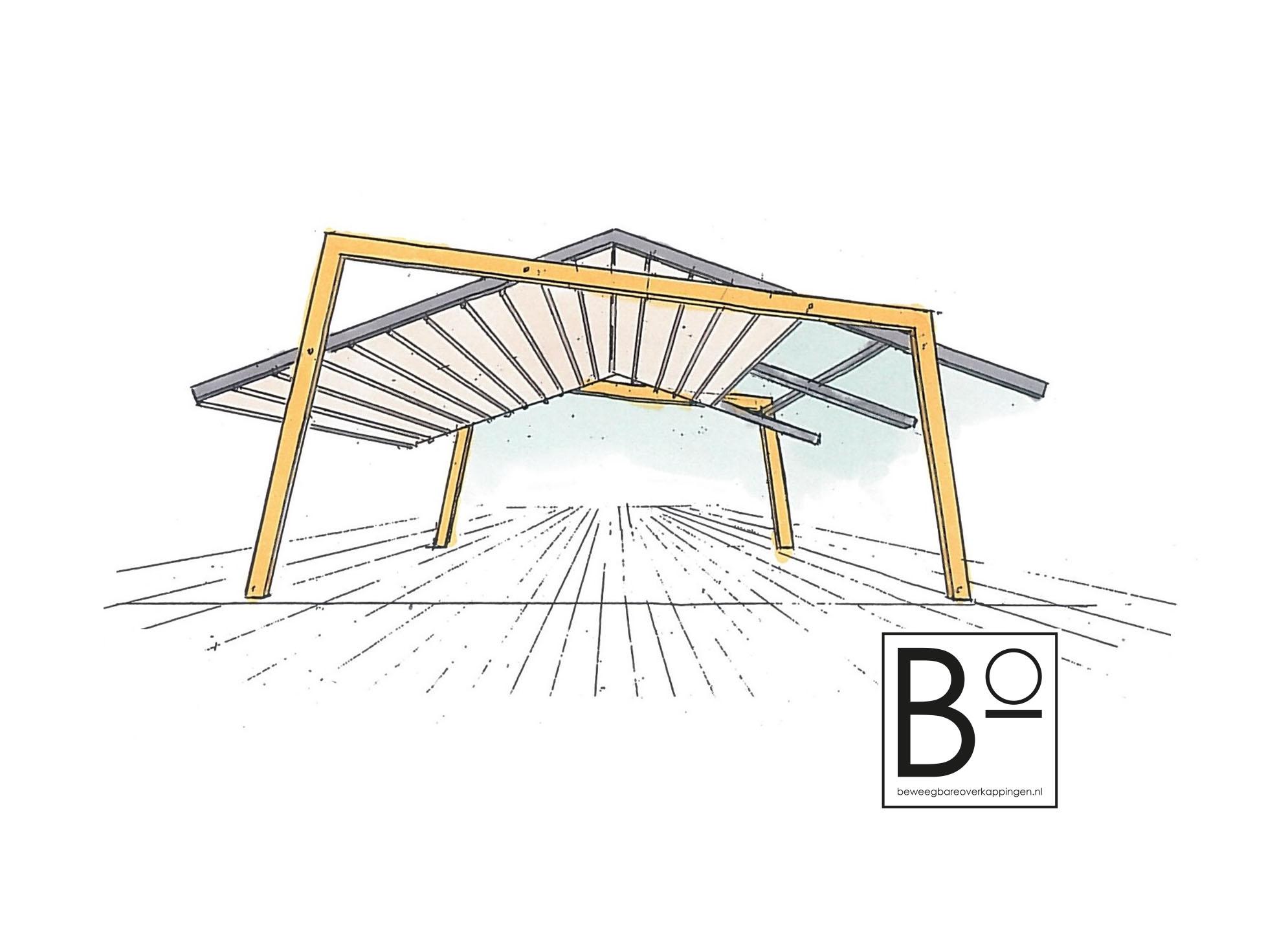tekening design overkapping met houten constructie