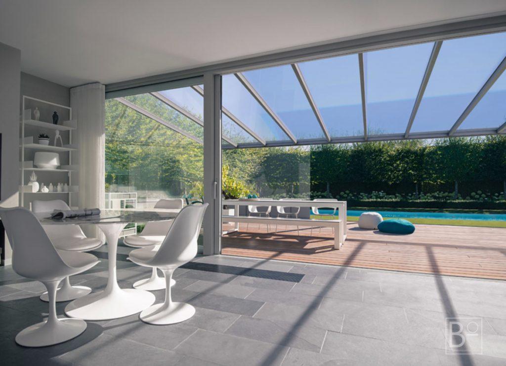 Vaste overkapping met polyacrylaat dak goedkoper dan glas